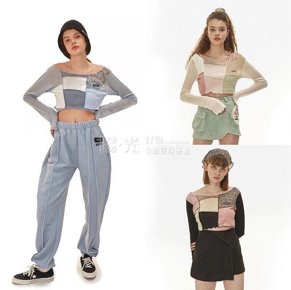 2020夏季新款韓國ODD ONE OUT拼接長袖女T恤衫薄款短裝露腰防曬衣 陽光好物
