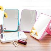 學生高清單面化妝鏡子 簡易台式梳妝鏡子 折疊便攜大號方形公主鏡 免運直出 聖誕交換禮物