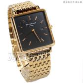 ROSEFIELD 歐風美學 時尚簡約 方形 不鏽鋼 女錶 防水手錶 金x黑 QBSG-Q017