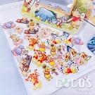 迪士尼貼紙 水彩維尼 小熊維尼 維尼熊 維尼 小豬 顆粒貼紙 貼紙包 裝飾貼紙 100張入 COCOS DB043