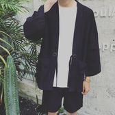 襯衫外套 日繫中國風寬鬆襯衣夏季亞麻中袖襯衫男大碼薄款開衫和服道袍外套【限時八折搶購】