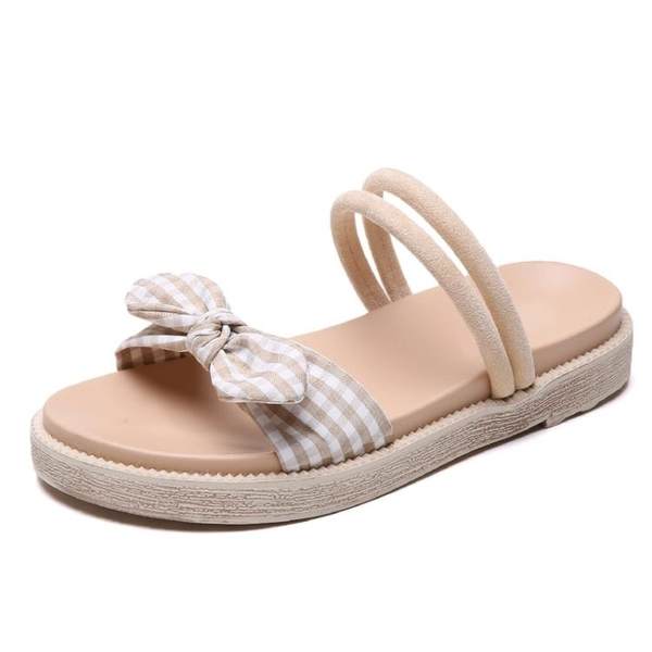 沙灘涼鞋 兩穿涼鞋女夏2019新款平底鬆糕跟學生鞋清新原宿外穿沙灘鞋少女潮 玫瑰