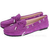 TOD'S City Flake 綁帶膠底豆豆休閒鞋(女鞋/紫色) 1710767-04
