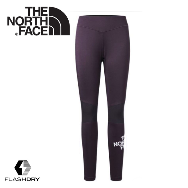 【The North Face 女 FlashDry彈性緊身長褲《紫》】3GBJ/緊身運動褲/健行褲/慢跑褲/貼腿褲