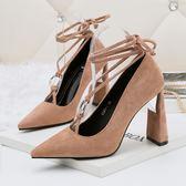 尖頭綁帶高跟鞋 性感粗跟鞋 系帶蝴蝶結鞋【多多鞋包店】z7036
