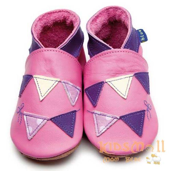 英國製Inch Blue,真皮手工學步鞋禮盒,Bunting-Rose Pink