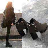 高跟短靴新款秋冬季馬丁靴女英倫風女鞋粗跟高跟鞋加絨短靴尖頭女靴子伊芙莎店