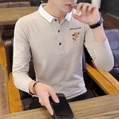 男士長袖T恤polo衫翻領男裝潮流韓版有帶領體恤青年韓版薄款上衣 KV3815 【歐爸生活館】
