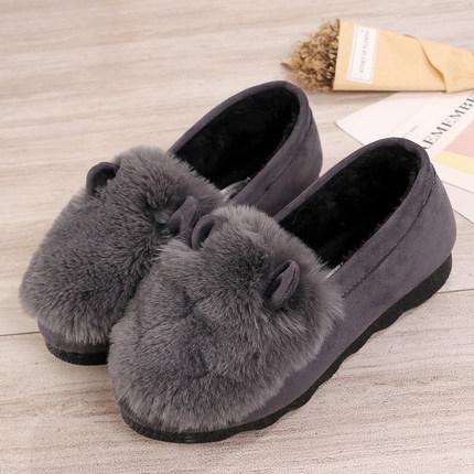 毛毛鞋 秋冬新款韓版時尚兔耳朵毛毛鞋厚底加絨保暖豆豆鞋潮女棉鞋瓢鞋女【快速出貨】