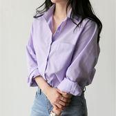 韓范條紋寬鬆氣質淑女紫色百搭學生少女襯衫女上衣優樂居生活館