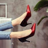 大碼 新款尖頭淺口性感細跟高跟鞋漆皮漸變色網紅女鞋工作單鞋 GB6111『miss洛羽』