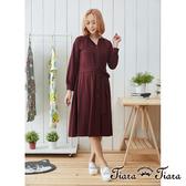 【Tiara Tiara】 都會風排釦襯衫式腰綁帶洋裝(紅/黑)