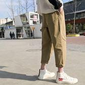 新款復古破洞休閒褲男士韓版學生寬鬆哈倫褲工裝九分褲潮