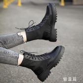 馬丁靴 女英倫風2019秋冬新款針織襪靴百搭厚底帥氣機車短靴子 BT14478『優童屋』