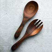 相思木大勺子長柄沙拉叉勺套裝組合木質叉子 飯勺家用   LannaS