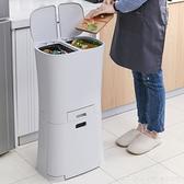 新品 日式家用創意廚房雙層分類垃圾桶客廳防臭簡約干濕分離大號垃圾箱 俏girl