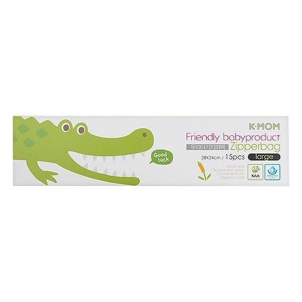 韓國 K-MOM 動物家族抗菌儲存袋(鱷魚喬治L)15入/盒【小三美日】MOTHER-K