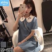 【V3087】shiny藍格子-甜美清新.刺繡娃娃領短袖連身裙