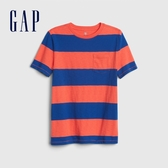 Gap男童清爽撞色條紋圓領短袖T恤573630-霓虹珊瑚色