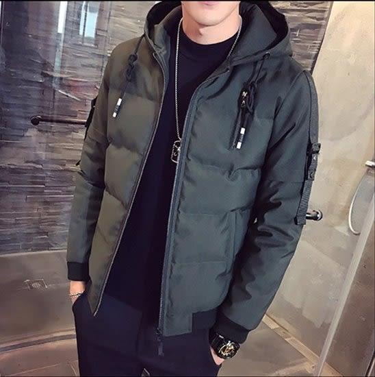 《澤米》加厚連帽短版棒球外套 2018冬季新款 韓版修身 帥氣有型 防風防水鋪棉外套(全館任二件