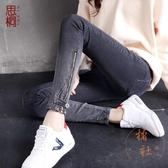 牛仔褲女韓版顯瘦長褲緊身小腳鉛筆褲子九分【橘社小鎮】