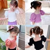 2021夏季新款女童裝韓版短袖T恤女寶寶泡泡袖潮流風皺褶上衣6772 幸福第一站