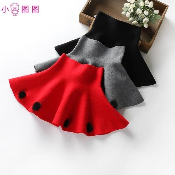 特賣短裙秋冬女童蓬蓬裙高腰裙兒童針織半身裙女孩短裙子新年春節裝舞蹈裙