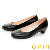 ORIN 真皮簡約素面百搭 女 中跟鞋 黑色