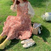 夏裝韓版泡泡袖上衣寬鬆無袖連身裙女碎花背心裙氣質中長款裙子 童趣屋