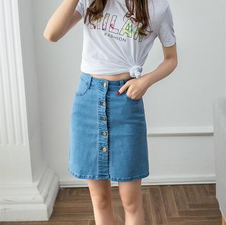 【TU23】牛仔裙半身裙 大碼女裝胖mm高腰學生中長款一步裙 牛仔短裙2219
