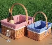 野餐籃 新品藤柳編野餐籃 手提籃 購物籃 戶外 花籃 禮品包裝籃 水果籃子 小明同學NMS