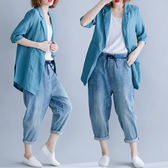 棉麻 率性歐逆七分袖西裝外套-中大尺碼 獨具衣格