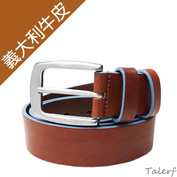 TALERF馬卡龍個性單層皮帶(粉藍/共6色)-情侶-男 /真皮 牛皮/台灣製造