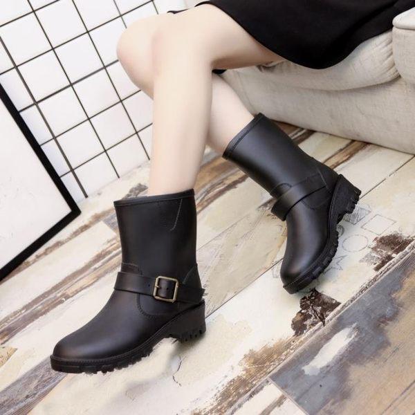 好看的雨鞋雨靴/春秋季時尚中筒女士馬丁雨靴成人雨鞋女生防滑水鞋正韓套鞋膠鞋潮