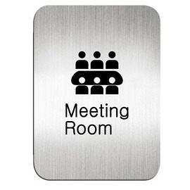 迪多Deflect-o 鋁質方形貼牌-英文Meeting Room會議室 612810S