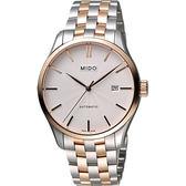 MIDO 美度 Belluna II Gent 經典機械手錶-銀x雙色版/40mm M0244072203100
