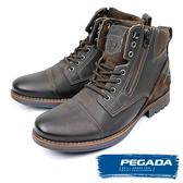 【PEGADA】巴西名品牛皮拉鍊中筒靴 深咖啡(180781-DBR)