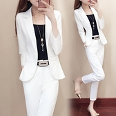 職業兩件套 秋季女裝白色職業小西裝套裝女正韓時尚氣質英倫風兩件套-Ballet朵朵