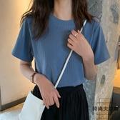 夏裝條紋白色針織衫上衣純色短袖T恤女【時尚大衣櫥】