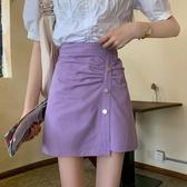 短裙 高腰紫色半身裙女夏季2020年新款設計感小眾包臀裙A字裙顯瘦短裙