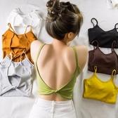 韓版chic風性感細肩帶扭結大露背吊帶衫上衣女夏季純色外穿小背心