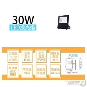 【光的魔法師】LED戶外防水投射燈 投光燈〔30瓦〕全電壓 黃光