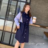 中大尺碼 假兩件學院風排釦洋裝(附腰帶) - 適XL~4L《 69130 》CC-GIRL