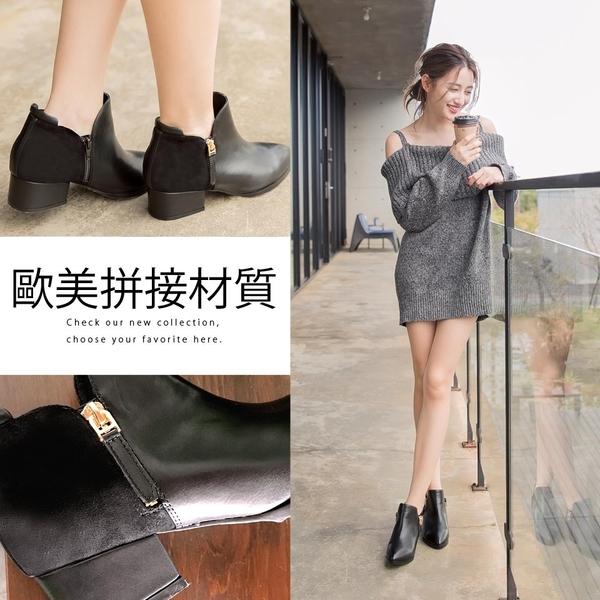 Ann'S潮流趨勢-拼接異材質V口剪裁金拉鍊粗跟短靴-黑