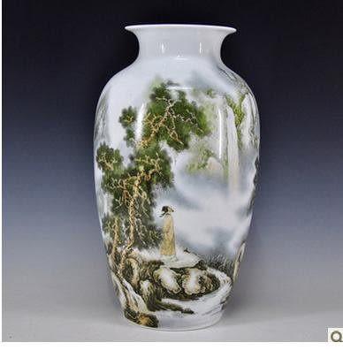 陶瓷粉彩花瓶 山水風景畫