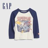 Gap男幼童 DC英雄主題圓領長袖休閒T恤 617944-藍色拼接