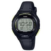 【CASIO】10年電力經典輕巧便利好戴運動電子錶-黑X黑(LW-203-1B)