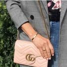 ■專櫃83折■ 全新真品■Gucci GG Marmont 小牛皮 WOC 皮夾鍊帶包 粉色