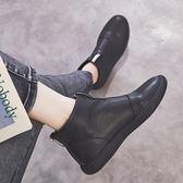短靴 春秋新款機車馬丁靴女英倫風學生百搭高幫平底單靴裸靴短靴女