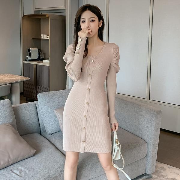 出清388 韓國風氣質泡泡袖修身高彈針織排扣長袖洋裝